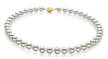 Blanco 9-9.5mm Calidad Hanadama - AAAA Collar de Perlas Akoya Japonesa y Oro amarillo 14K