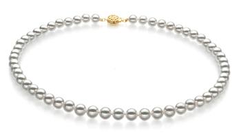 Blanco 7-7.5mm Calidad Hanadama - AAAA Collar de Perlas Akoya Japonesa y Oro amarillo 14K