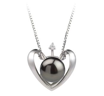 Corazón Negro 9-10mm Calidad AA Colgante de Perla de Agua Dulce y Plata esterlina 925