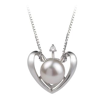 Corazón Blanco 9-10mm Calidad AA Colgante de Perla de Agua Dulce y Plata esterlina 925