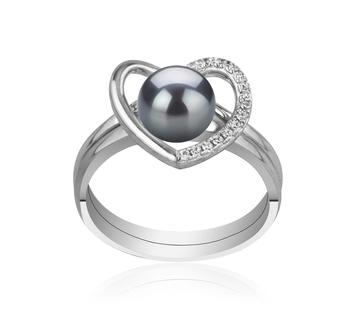 Corazón Negro 6-7mm Calidad AAAA Anillo de Perla de Agua Dulce y Plata esterlina 925