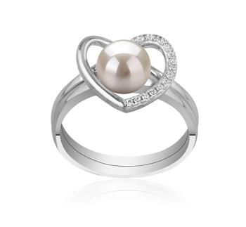 Corazón Blanco 6-7mm Calidad AAAA Anillo de Perla de Agua Dulce y Plata esterlina 925