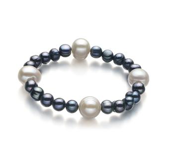 Irina Negro y Blanco 6-11mm Calidad A Pulsera de Perlas de Agua Dulce y sin tipo de metal