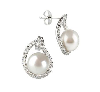 Isabella Blanco 9-10mm Calidad AA Pendientes de Perlas de Agua Dulce y Plata esterlina 925