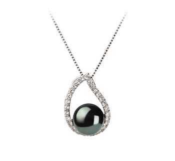 Isabella Negro 9-10mm Calidad AA Colgante de Perla de Agua Dulce y Plata esterlina 925