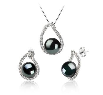 Isabella Negro 9-10mm Calidad AA Conjunto de Perlas de Agua Dulce y Plata esterlina 925