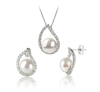 Isabella Blanco 9-10mm Calidad AA Conjunto de Perlas de Agua Dulce y Plata esterlina 925