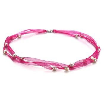 Jasmine rosa Blanco 5-6mm Calidad A Collar de Perlas de Agua Dulce