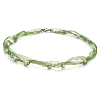 Jasmine verde Blanco 5-6mm Calidad A Collar de Perlas de Agua Dulce