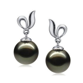 Perla negra Jeannie Negro 9-10mm Calidad AAA Pendientes de Perlas Tahití y Oro blanco 14K