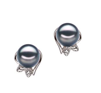 Jodie Negro 6-7mm Calidad AA Pendientes de Perlas Akoya Japonesa y Plata esterlina 925