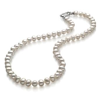 Joyce Blanco 8-9mm Calidad A Collar de Perlas de Agua Dulce y Plata esterlina 925