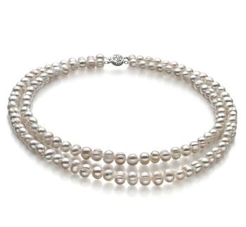 Julienne Blanco 6-7mm Calidad A Collar de Perlas de Agua Dulce