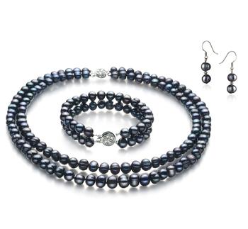 Julika Negro 6-7mm Calidad A Conjunto de Perlas de Agua Dulce