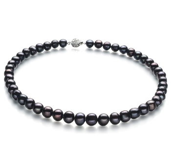 Kaitlyn Negro 8-9mm Calidad A Collar de Perlas de Agua Dulce