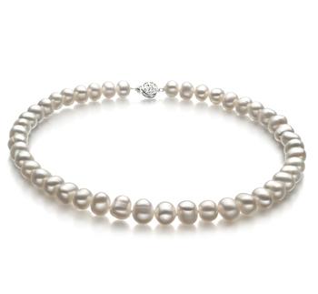 Kaitlyn Blanco 8-9mm Calidad A Collar de Perlas de Agua Dulce