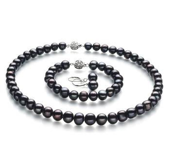 Kaitlyn Negro 8-9mm Calidad A Conjunto de Perlas de Agua Dulce y Plata esterlina 925