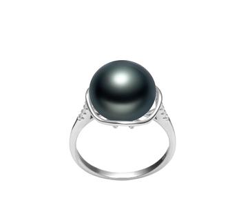 Kalina Negro 11-12mm Calidad AAA Anillo de Perla de Agua Dulce y Plata esterlina 925