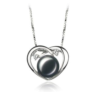 Corazón Katie Negro 9-10mm Calidad AA Colgante de Perla de Agua Dulce y Plata esterlina 925