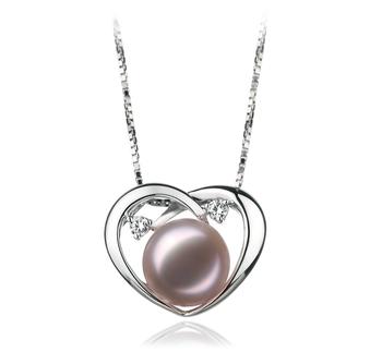 Corazón Katie Lavanda 9-10mm Calidad AA Colgante de Perla de Agua Dulce y Plata esterlina 925