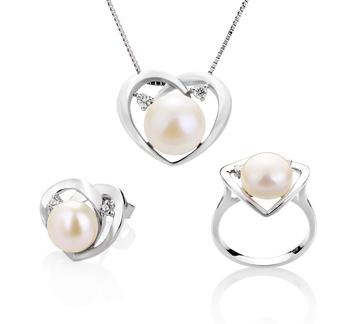 Corazón Katie Blanco 7-10mm Calidad AA Conjunto de Perlas de Agua Dulce y Plata esterlina 925