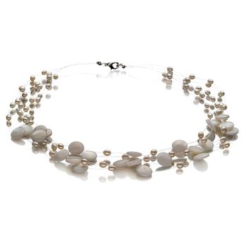 Keita Blanco 4-10mm Calidad A Collar de Perlas de Agua Dulce