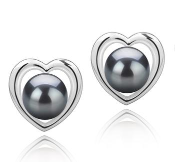 Kimberly-corazón Negro 8-9mm Calidad AAA Pendientes de Perlas Tahití y Plata esterlina 925