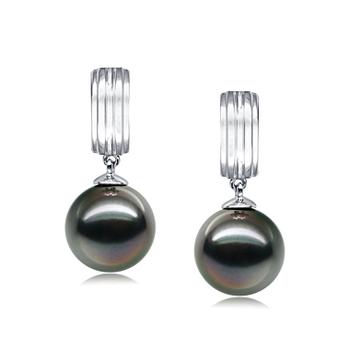 Perlas Kiyam Negro 9-10mm Calidad AAA Pendientes de Perlas Tahití y Oro blanco 14K