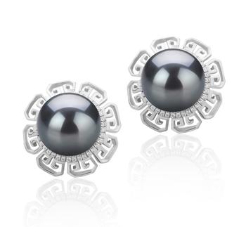 LEONIE Negro 9-10mm Calidad AAA Pendientes de Perlas Tahití y Plata esterlina 925