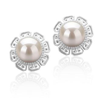 LEONIE Blanco 9-10mm Calidad AAAA Pendientes de Perlas de Agua Dulce y Plata esterlina 925