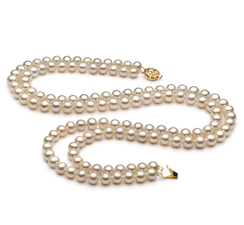 Liah Blanco 6-7mm Calidad AA Collar de Perlas de Agua Dulce