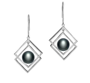 Lilian Negro 8-9mm Calidad AAA Pendientes de Perlas de Agua Dulce y Plata esterlina 925