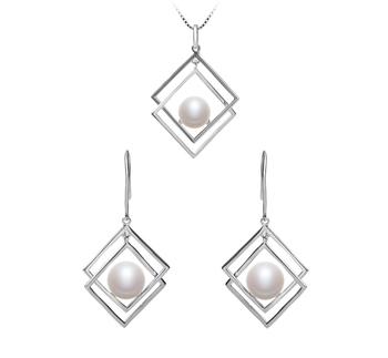 Lilian Blanco 8-9mm Calidad AAA Conjunto de Perlas de Agua Dulce y Plata esterlina 925