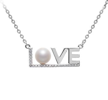 LOVE Blanco 6-7mm Calidad AAAA Collar de Perlas de Agua Dulce y Plata esterlina 925