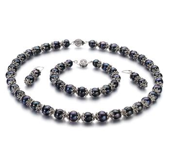 MarieAnt Negro 8-9mm Calidad AA Conjunto de Perlas de Agua Dulce y Plata esterlina 925