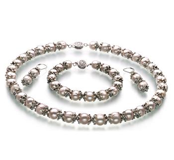 MarieAnt Blanco 8-9mm Calidad A Conjunto de Perlas de Agua Dulce y Plata esterlina 925
