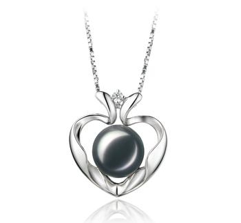 Corazón Marlina Negro 9-10mm Calidad AA Colgante de Perla de Agua Dulce y Plata esterlina 925