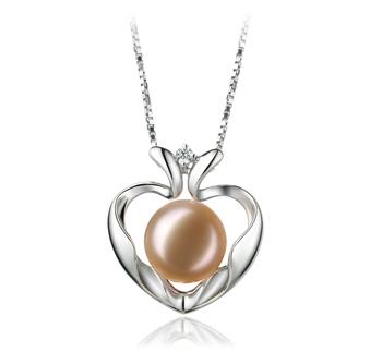 Corazón Marlina Rosa 9-10mm Calidad AA Colgante de Perla de Agua Dulce y Plata esterlina 925