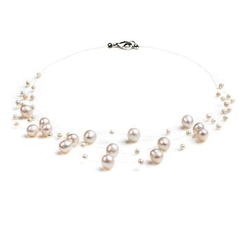 Mary Blanco 3-9mm Calidad A Collar de Perlas de Agua Dulce