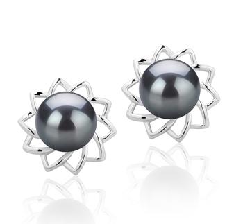 Morgan Negro 7-8mm Calidad AAAA Pendientes de Perlas de Agua Dulce y Plata esterlina 925