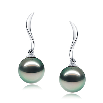 Perlas negras Místico Negro 9-10mm Calidad AAA Pendientes de Perlas Tahití y Oro blanco 14K