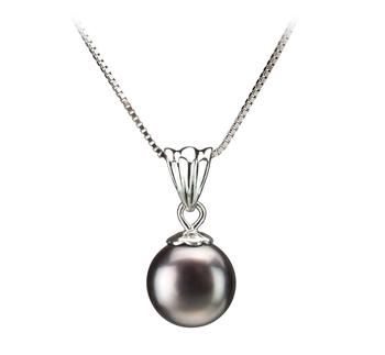 Nancy Negro 9-10mm Calidad AA Colgante de Perla de Agua Dulce y Plata esterlina 925