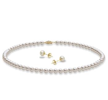 Collar y pendientes Blanco 5-6mm Calidad AAA Conjunto de Perlas de Agua Dulce