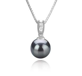Nerea Negro 8-9mm Calidad AAAA Colgante de Perla de Agua Dulce y Plata esterlina 925