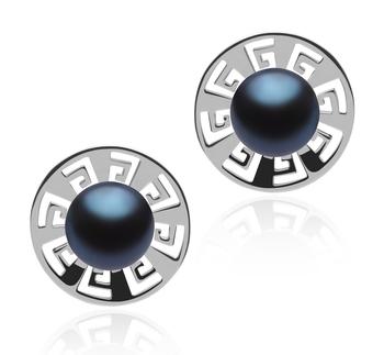Noé Negro 8-9mm Calidad AAA Pendientes de Perlas de Agua Dulce y Plata esterlina 925