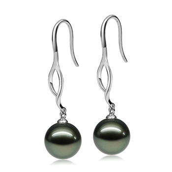 Largos de perlas Olivia Negro 9-10mm Calidad AAA Pendientes de Perlas Tahití y Oro blanco 14K