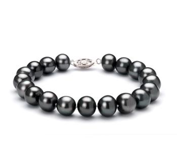 Negro 8.5-9mm Calidad AA Pulsera de Perlas de Agua Dulce y Plata esterlina 925