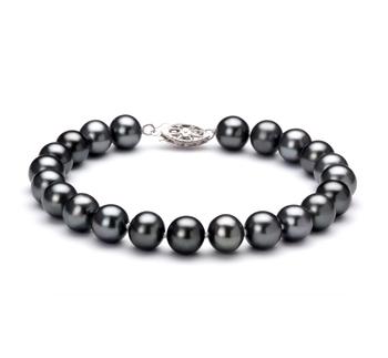 Negro 7.5-8.5mm Calidad AA Pulsera de Perlas de Agua Dulce y Plata esterlina 925