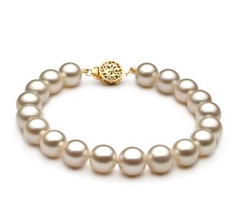Blanco 8-8.5mm Calidad AAAA Pulsera de Perlas de Agua Dulce y Lleno de oro