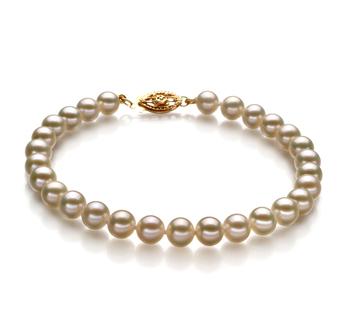 Blanco 5-5.5mm Calidad AAAA Pulsera de Perlas de Agua Dulce y Lleno de oro